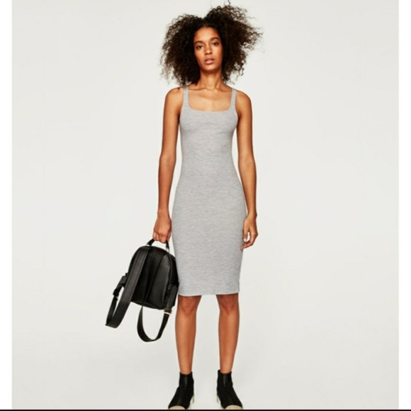 a597f8a9d1 Zara trafaluc gray midi bodycon sleeveless dress S.  M 5b97fc400cb5aac55fc04fbc